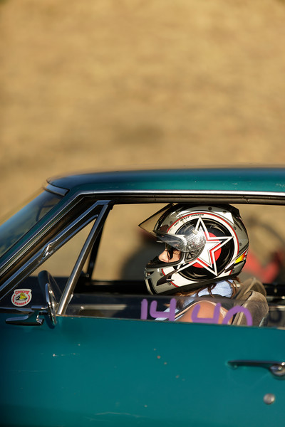 Miss Shifters member Jessica Boller sits in her 1967 Chevrolet Camaro before the first Powder Puff elimination round, during the Summit #6 Sugar Bear Memorial at the Spokane County Raceway in Airway Heights, Wash., Saturday, July 14, 2018. (Young Kwak/The Inlander)