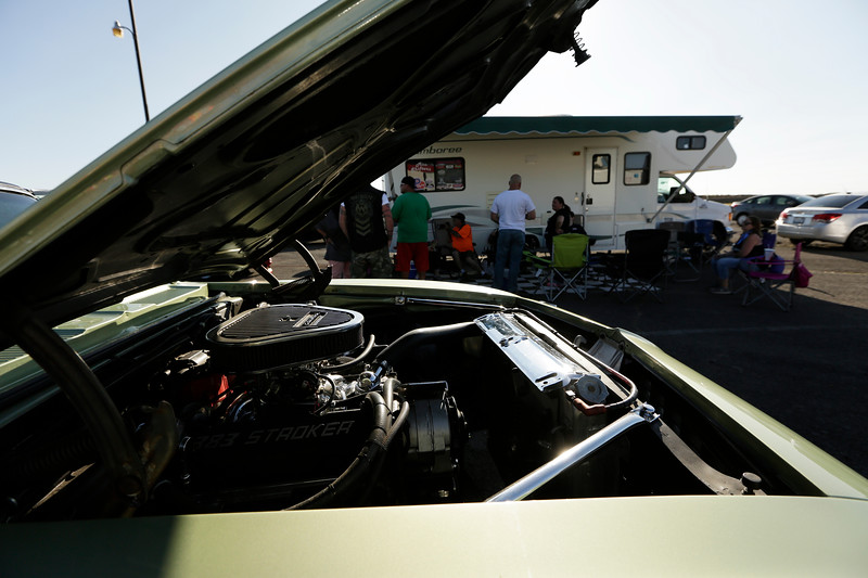 Miss Shifters Treasurer Annette Callesto's 1969 Chevrolet Camaro is photographed in the pit area, during the Summit #6 Sugar Bear Memorial at the Spokane County Raceway in Airway Heights, Wash., Saturday, July 14, 2018. (Young Kwak/The Inlander)
