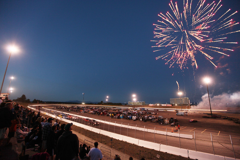 The Spokane 200 begins with fireworks at the Spokane County Raceway oval track, in Airway Heights, Wash., on Saturday, August 25, 2012. (Young Kwak/The Pacific Northwest Inlander)