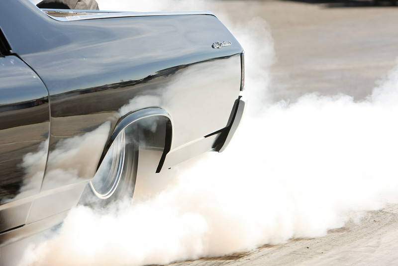 A racer does a burnout at the Spokane County Raceway drag strip, in Airway Heights, Wash., on Saturday, August 25, 2012. (Young Kwak/The Pacific Northwest Inlander)