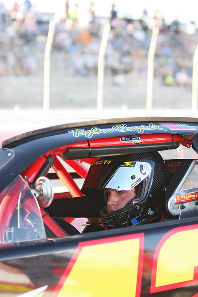 21 year old Phoenix, Ariz. resident and Driver Taylor Cuzick waits to begin a heat before the Spokane 200, at the Spokane County Raceway oval track, in Airway Heights, Wash., on Saturday, August 25, 2012. (Young Kwak/The Pacific Northwest Inlander)
