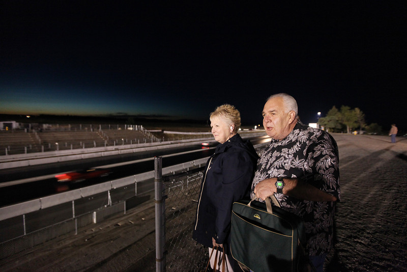 Ray Forster, right,a nd Donna Hauck watch a drag race at the Spokane County Raceway, in Airway Heights, Wash., on Saturday, August 25, 2012. (Young Kwak/The Pacific Northwest Inlander)