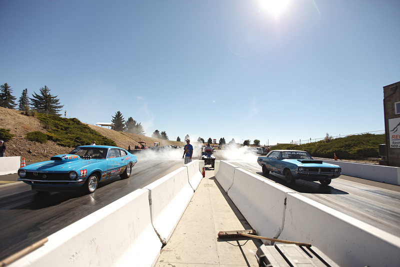 Racers burnout before a race at the Spokane County Raceway drag strip, in Airway Heights, Wash., on Saturday, August 25, 2012. (Young Kwak/The Pacific Northwest Inlander)