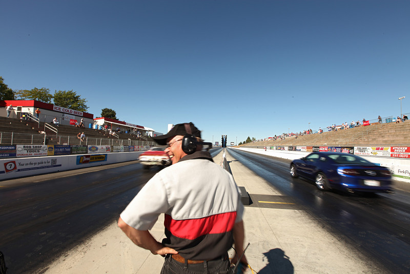 Addy, Wash. resident and Starter Lance Kuk watches a race at the Spokane County Raceway drag strip, in Airway Heights, Wash., on Saturday, August 25, 2012. (Young Kwak/The Pacific Northwest Inlander)