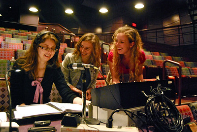 Stage manager Christina Henricks '13, Bumke, and spotlight operator Laura Gates '14 share a laugh during a break in rehearsal. 'Sunday in the Park with George' is a thesis project for Bumke, Linneman, and Wilson.