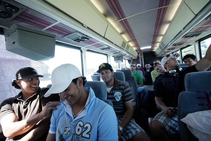 Spokane Indians outfielder David Paisano, left, pitcher Widfredo Boscan, and the rest of the Spokane Indians team ride a bus to Gesa Stadium, in Pasco, Wash., to play the Tri-City Dust Devils, Monday, August 4, 2008. The Spokane Indians beat the Tri-City Dust Devils 13-9 that evening in a Northwest League game. (Young Kwak Special to the Pacific Northwest Inlander)