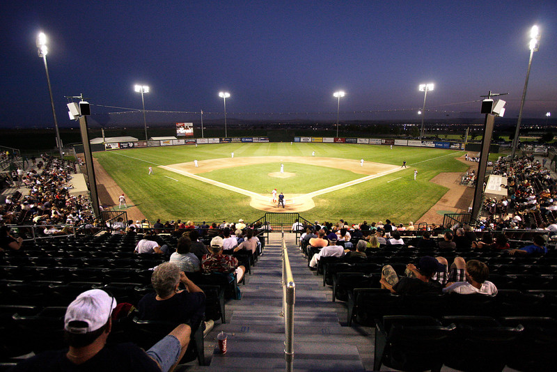 The Spokane Indians play the Tri-City Dust Devils in a Northwest League game at Gesa Stadium, in Pasco, Wash., Monday, August 4, 2008. The Spokane Indians beat the Tri-City Dust Devils 13-9 that evening in a Northwest League game. (Young Kwak Special to the Pacific Northwest Inlander)