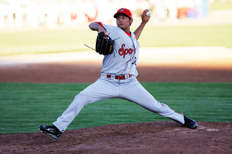 Spokane Indians starter Martin Perez pitches against the Tri-City Dust Devils in a Northwest League game at Gesa Stadium, in Pasco, Wash., Monday, August 4, 2008. The Spokane Indians beat the Tri-City Dust Devils 13-9 that evening in a Northwest League game. (Young Kwak Special to the Pacific Northwest Inlander)