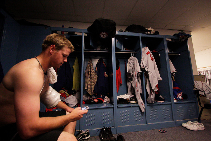 Spokane Indians pitcher Tim Murphy ices his arm in the locker room at Gesa Stadium, in Pasco, Wash., Monday, August 4, 2008. The Spokane Indians beat the Tri-City Dust Devils 13-9 that evening in a Northwest League game. (Young Kwak Special to the Pacific Northwest Inlander)