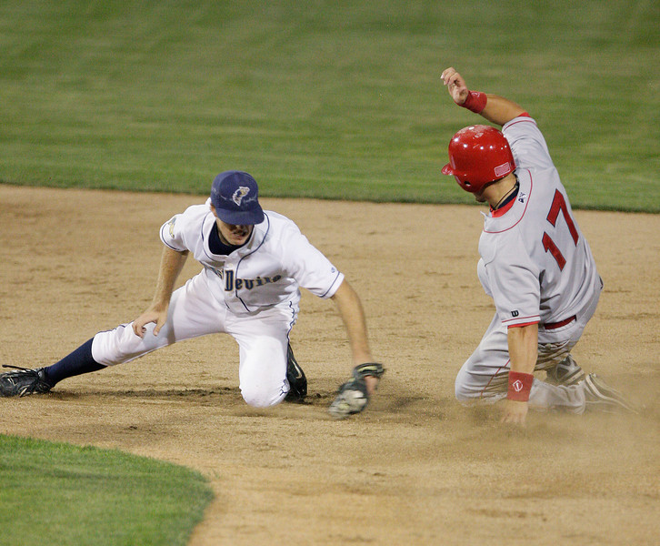 Spokane Indians outfielder Mike Bianucci beats the tag of Tri-City Dust Devils second baseman Eriz Wetzel to steal second during a Northwest League game at Gesa Stadium, in Pasco, Wash., Monday, August 4, 2008. The Spokane Indians beat the Tri-City Dust Devils 13-9 that evening in a Northwest League game. (Young Kwak Special to the Pacific Northwest Inlander)