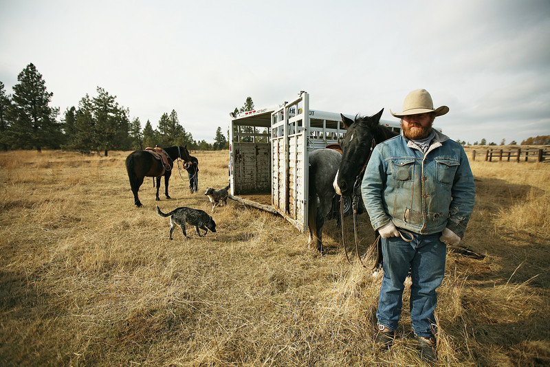 Nate Gutzwiller waits for the roundup to begin at Home Place at Lazy H Ranches, in Cheney, Wash., on Monday, November 7, 2011. (Young Kwak Special to the Pacific Northwest Inlander)