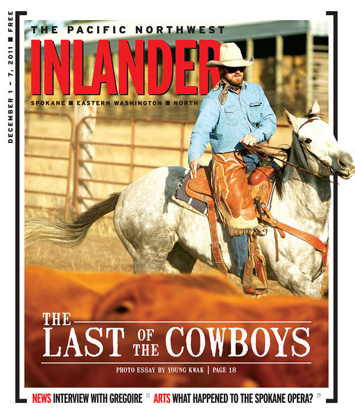 Pacific Northwest Inlander cover story about ranching. Issue date: Thursday, December 1, 2011. Art Director: Chris Bovey. Photographer: Young Kwak. Cody Harris directs cattle into corrals at Lazy H Ranches, in Cheney, Wash.