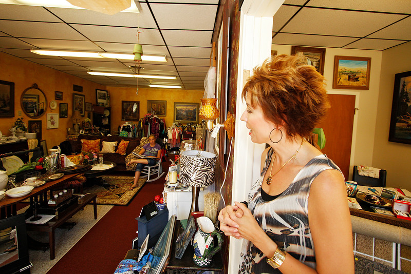Owner Diane White speaks about her store Welcome Home, in St. John, Wash. on Wednesday, July 7, 2010. White has lived in 25 years after marrying Dave White, a St. John native. The former school employee decided to open the store on November 10, 2009 after being laid off. She had always been into antiques, clothing and home furnishings and decided to make her interests into a business. She also sells flooring, which her husband can install. (Young Kwak Special to the Pacific Northwest Inlander)