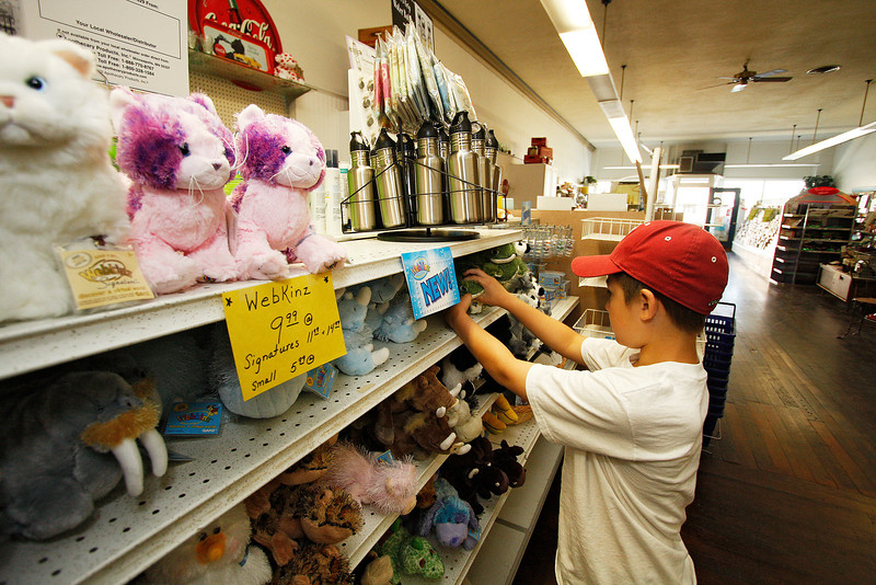"9 year old Conrad ""Conr"" Hergert organizes a Webkinz display at the St. John Pharmacy in St. John, Wash. on Tuesday, July 6, 2010. He is trying to earn discounts on toys at the pharmacy by doing chourse and errands. (Young Kwak Special to the Pacific Northwest Inlander)"