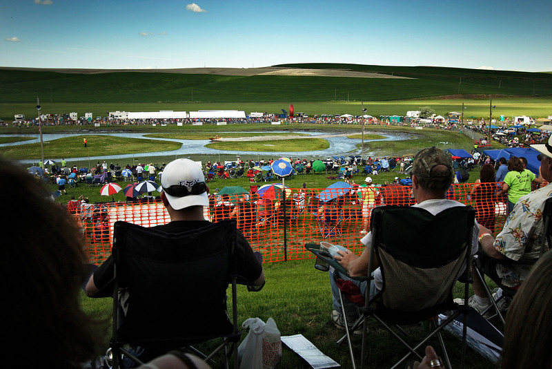 Spectators watch a qualifying run during a United States Sprint Boat Association race at Webb's Slough in St. John, Wash. on Saturday, June 19, 2010. Thousands attended this event. (Young Kwak Special to the Pacific Northwest Inlander)