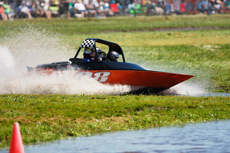 Team Fat Buddy Racing runs through a qualifying heat during a United States Sprint Boat Association race at Webb's Slough in St. John, Wash. on Saturday, June 19, 2010. Thousands attended this event. (Young Kwak Special to the Pacific Northwest Inlander)