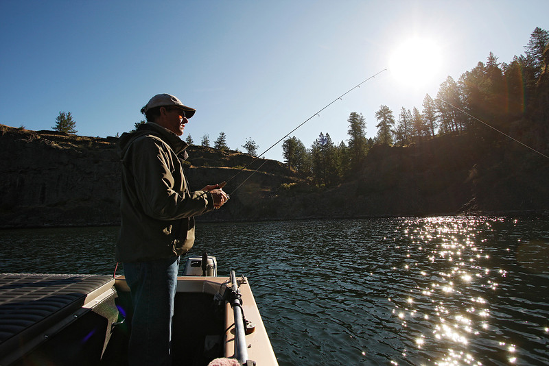 Jim Van Lith fishes on Rock Lake, near St. John, Wash. on Monday, July 5, 2010. Van-Lith has lived in St. John for 22 years, and is an insurance agent in town.  (Young Kwak Special to the Pacific Northwest Inlander)