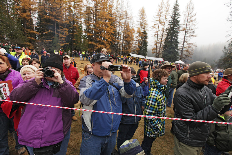 Debbie Lutz, left, and her husband Bob photograph and film during the cutting of an eighty-eight foot Engelmann Spruce, destined to be the U.S. Capitol Christmas Tree, in the Colville National Forest, in Pend Oreille County, Wash., on Friday, November 1, 2013. (Young Kwak/The Pacific Northwest Inlander)