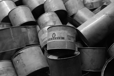 Empty canisters of poison gas crystals.