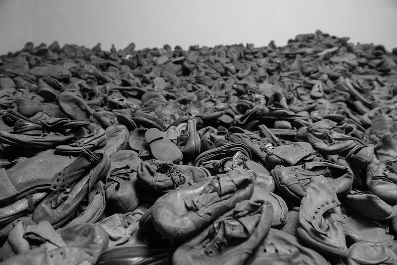 Pile of children's shoes, Auschwitz I.