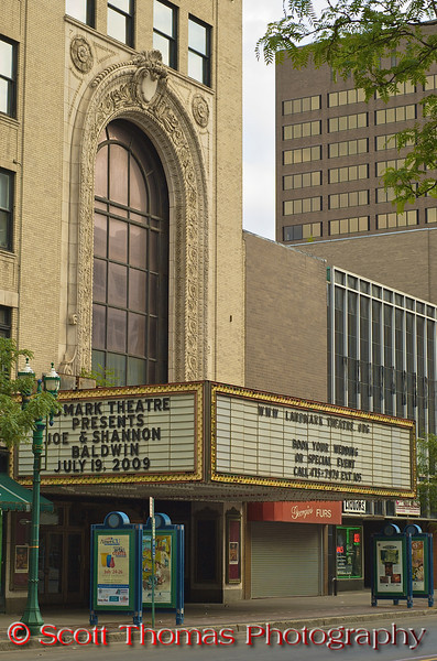The Loew's State Theater, now known as the Landmark Theatre, opened in 1928 showing silent movies and using a 1,400-pipe Wurlitzer organ to provide the movie's musical score and sound effects. The organ was sold in 1964 as the company who owned the theatre was close to bankruptcy. Over the years, the theatre fell into disrepair unable to compete with suburban movie theatres and was almost demolished twice during the 1970's.  In 1975, the group calling itself the Syracuse Area Landmark Theatre, or SALT, formed and raised enough money to buy the theatre by 1979.  The Landmark Theatre is now listed in the United States National Register of Historic Places.<br /> <br /> This is the marquee and main entrance to the Landmark Theatre as it is today on Salina Street in Syracuse, New York.