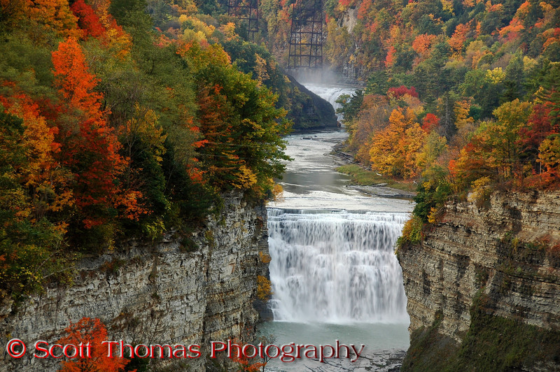 Middle Falls is the highest of the three Genesee River falls at 107 feet.  This was taken from Inspiration Point which is fully handicap accessible.