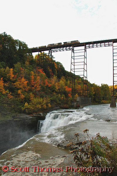 "A train slowly goes over the Train Trestle which spans 800 feet and 234 feet high above the Upper Falls.  I bet the engineers of the train had a breathtaking view of the gorge.  <b>Reference Link</b>: <a href=""http://www.letchworthparkhistory.com/pbjournal.html"" target=""new"">The History of High Bridge</a>"