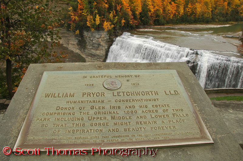 "50th anniversary rededication plaque in front of the Glen Iris Inn overlooking Middle Falls.  For more on the history of the park, visit the <a href=""http://www.letchworthparkhistory.com/"" target=""new"">Letchworth Park History website</a>."
