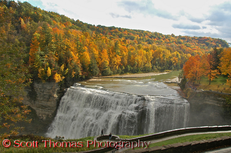 """Middle Falls again from the Glen Iris Inn Overlook.  You can see a closer overlook below showing some of the <a href=""""http://www.letchworthparkhistory.com/glimpse3.html"""" target=""""new"""">stone walls built by the Civilian Conservation Corps (CCC) back in the 1930's</a>."""
