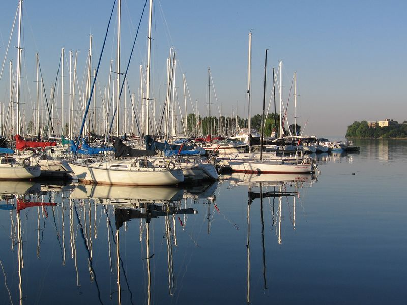The sheltered marina is calm and peaceful.