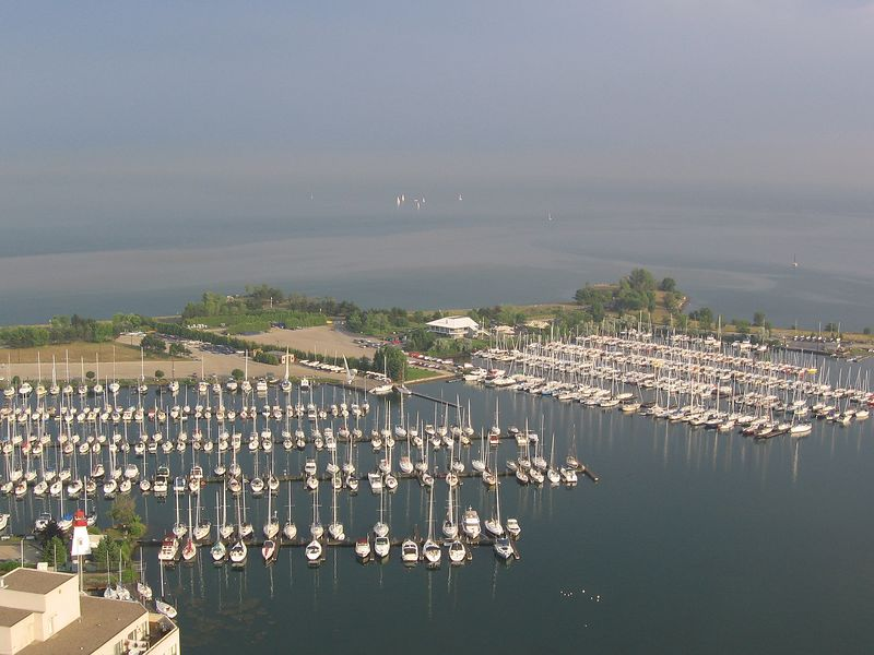 Looking south across Lake Ontario, you can see the marinas shared by the Mimico Cruising Club, the Etobicoke Yacht Club and the Humber College Sailing School. On a clear day, you can see Niagara Falls across the lake.