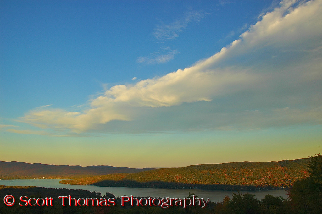 """This view from the Eagle's Nest overlook stop on the <a href=""""http://en.wikipedia.org/wiki/Prospect_Mountain_Veterans_Memorial_Highway"""" target=""""new"""">Prospect Mountain Veterans Memorial Highway</a> shows what I call the cobalt blue sky of a beautiful October day.  The color is unlike any other time of the year."""