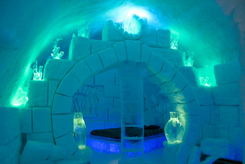 blue-tined room in the ice hotel