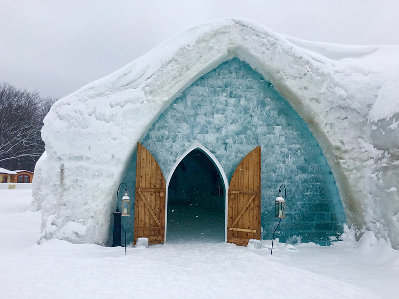 back exit of the ice hotel