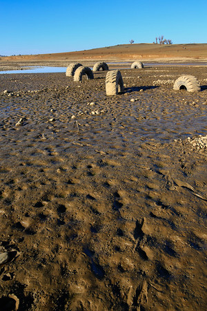 Jan 4th, 2014.  Folsom Lake at historically low levels.  Took the kids out to see the old city that went underwater when the dam was built.  The hype greatly exceeded the experience as there wasn't much to see other than mud.  The lake is scary low though.