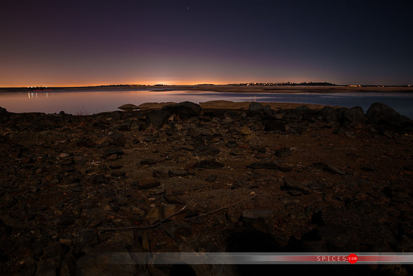 Night shots of Folsom lake nearly dry.  Shot on Jan 17th 2014 after months of no rain.  The worst drought on record for the area.