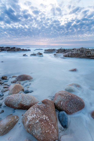 A long exposure of the receding tide at Pebble Beach California