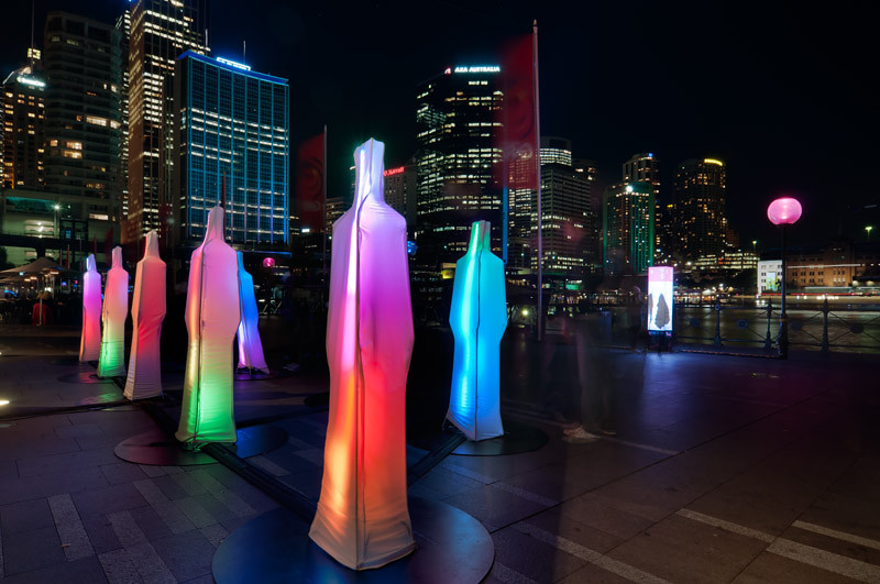 Lights and colours in human shapes