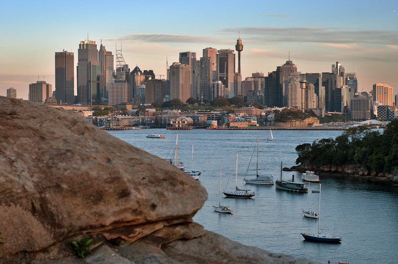 The last rays of the sun on CBD | View from Waverton