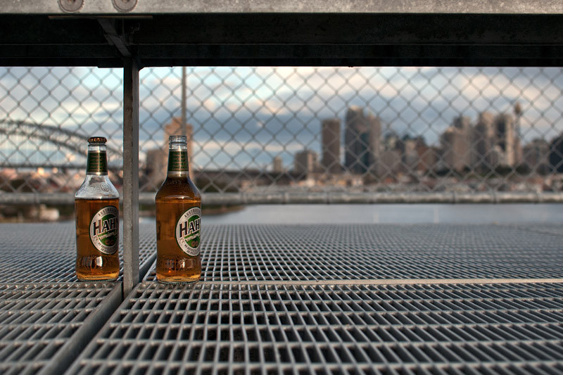 Beers in front of the city