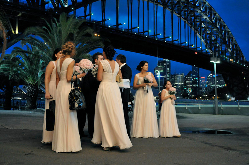 Newlyweds by the Harbour Bridge