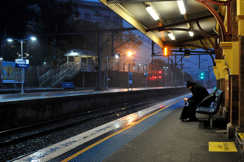 A rainy dusk at Redfern station and a lonely traveller (?)
