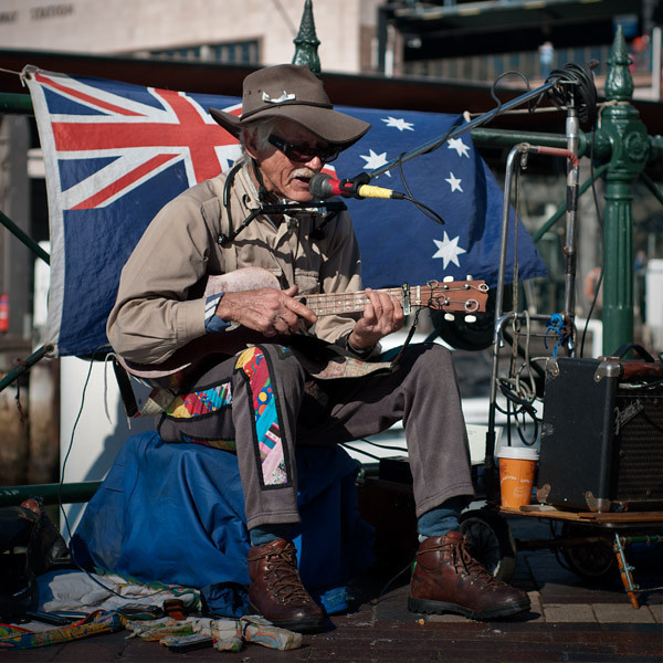 Playing Johnny Cash type of songs at the Circular Quay