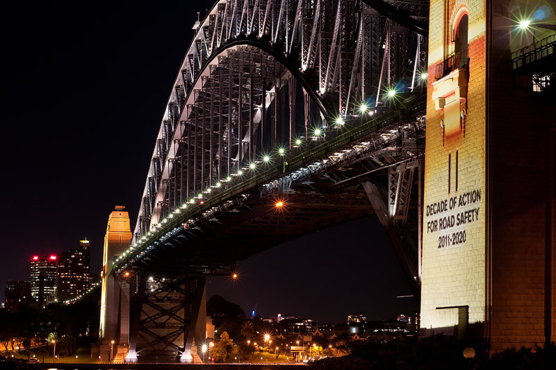 Light installation on the bridge pylon | Road Safety Awareness