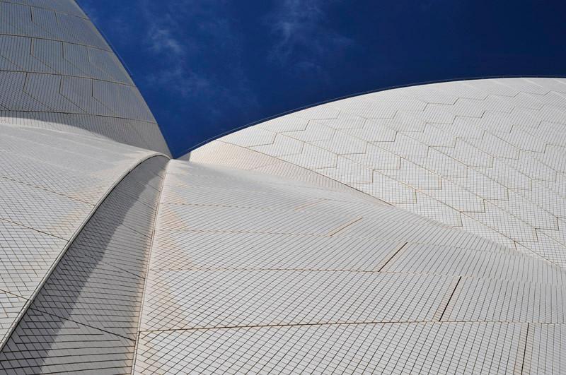 Sydney Opera House detail against a clear blue sky