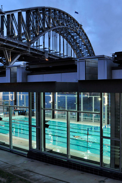 Swimming by the harbour, under the bridge