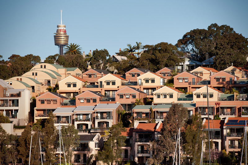 "The Sydney tower and a bunch of ""cookie-cutter mold"" houses"
