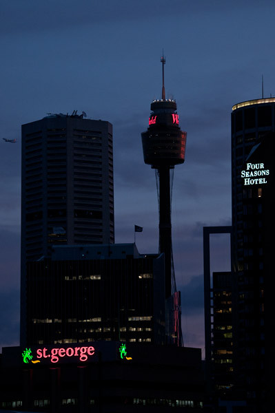 The night falls on Sydney's busy skyline