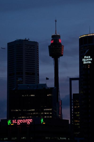 The night falls on Sydney's busy skyline