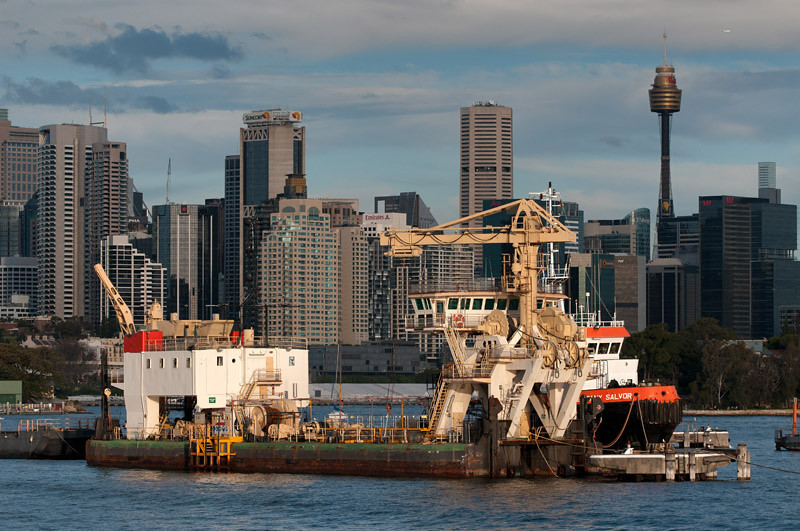 Cranes, old ships and the city CBD